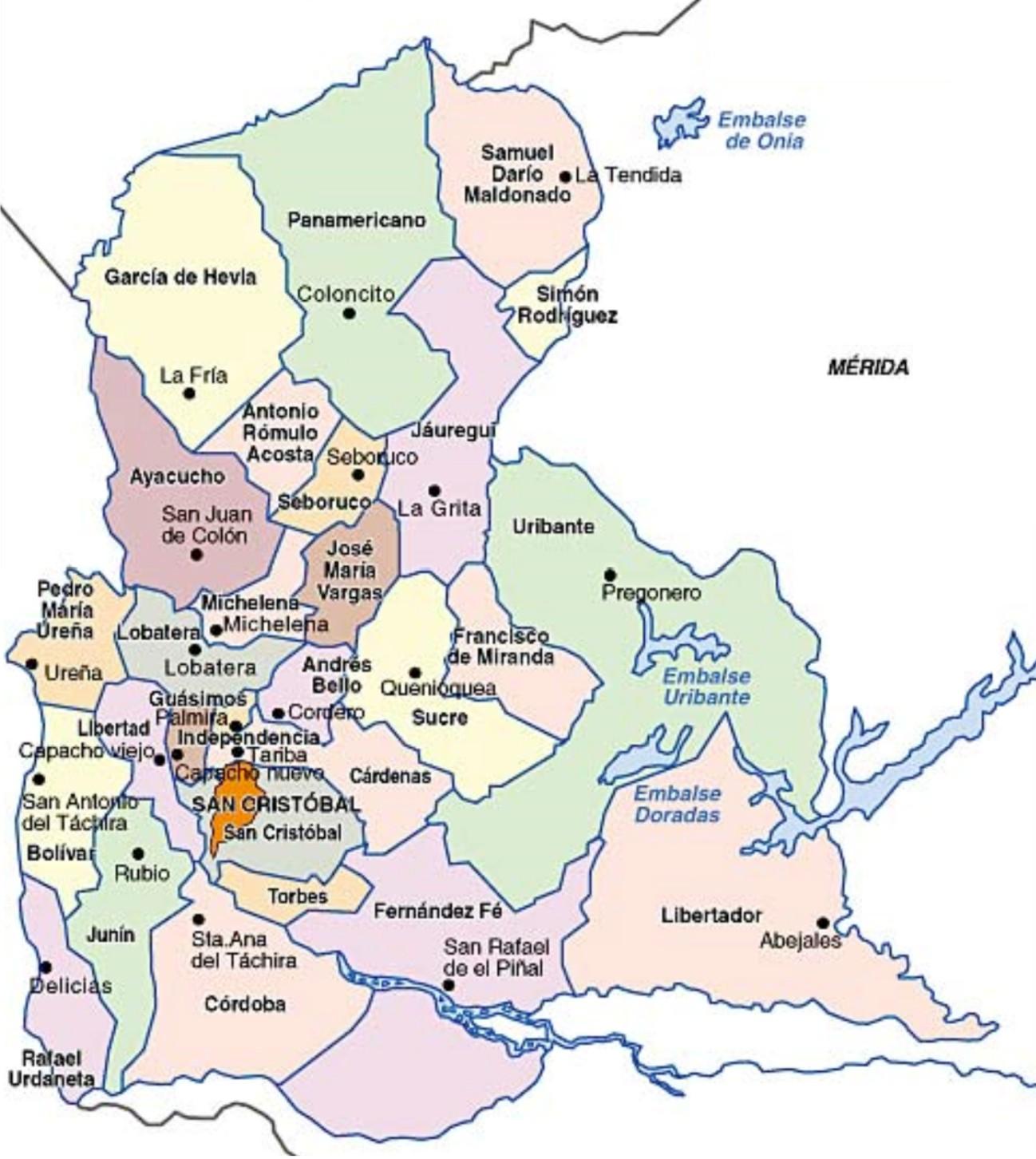 Mapa Del Estado Tachira Venezuela